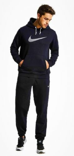 Nike Mens Brushed Fleece Warm Up Hooded Sports Jogging Tracksuit Top & Bottom Navy